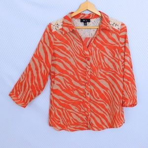 BCX Red Zebra Striped Top with Lace Shoulders